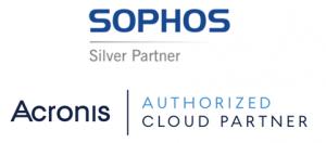 Sophos Silver Partner logo, Acronis Authorized Cloud Partner logo