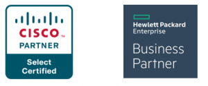 Cisco logo, Hewlett Packard Enterprise Business Partner logo