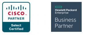 Cisco logo, Hewlett Packard Enterprise Business Partner logo